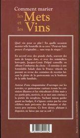 Comment marier les mets et les vins - 4ème de couverture - Format classique