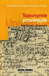 Toponymie Provencale - Couverture - Format classique
