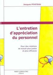 L'Entretien D'Appreciation Du Personnel. Entretien Professionnel, D'Evaluation, De Progres, De Perfo - Intérieur - Format classique