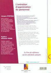 L'Entretien D'Appreciation Du Personnel. Entretien Professionnel, D'Evaluation, De Progres, De Perfo - 4ème de couverture - Format classique