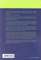 Dictionnaire d'histoire du droit et des institutions publiques (2e édition) - 4ème de couverture - Format classique