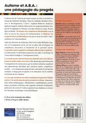 Autisme Et A.B.A : Une Pedagogie Du Progres - 4ème de couverture - Format classique