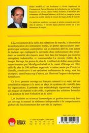 Gestion Des Risques Sur Operations De Marche - 4ème de couverture - Format classique