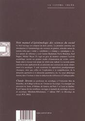Petit Manuel D'Epistemologie Des Sciences Du Social - 4ème de couverture - Format classique