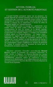 Accueil familial et gestion de l'autorité parentale - 4ème de couverture - Format classique