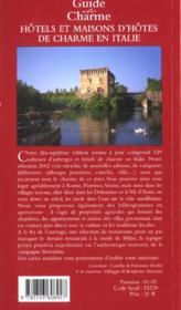 Hotels et maisons d'hotes de charme en italie ; edition 2002 - 4ème de couverture - Format classique