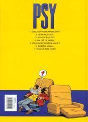 Les psy t.3 ; je vous ecoute - 4ème de couverture - Format classique