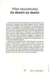Villes Reconstruites ; Du Dessin Au Destin T.1 - 4ème de couverture - Format classique