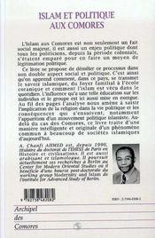 Islam et politique aux Comores - 4ème de couverture - Format classique