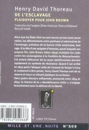 De l'esclavage ; plaidoyer pour john brown - 4ème de couverture - Format classique