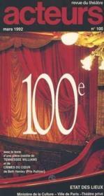 Acteurs auteurs no 100 mars 1992 etat des lieux : ministere de la culture - vill - Couverture - Format classique