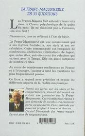 Franc-Maconnerie En 33 Questions (La) - 4ème de couverture - Format classique
