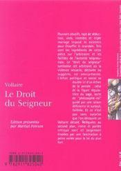 Le Droit Du Seigneur Ou L'Ecueil Du Sage - 4ème de couverture - Format classique