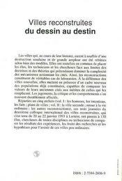 Villes Reconstruites ; Du Dessin Au Destin T.2 - 4ème de couverture - Format classique