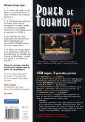 Poker de tournoi - 4ème de couverture - Format classique