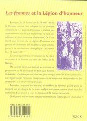 Les femmes et la légion d'honneur depuis sa création - 4ème de couverture - Format classique