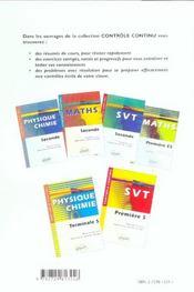 Controle Continu ; Mathématiques ; Terminales S - 4ème de couverture - Format classique