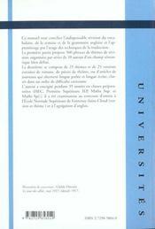 Manuel Pratique De Traduction Anglaise Exercices De Revision Et D'Entrainement A La Traduction - 4ème de couverture - Format classique