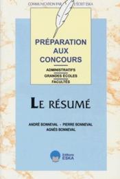 Le Resume, Preparation Aux Concours - Couverture - Format classique