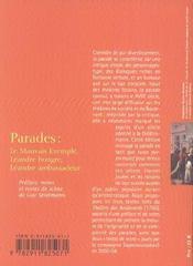 Parades - 4ème de couverture - Format classique