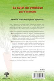 Le sujet de synthèse par l'exemple - 4ème de couverture - Format classique