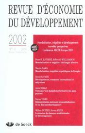 Revue D'Economie Du Developpement T.1/2 - Intérieur - Format classique