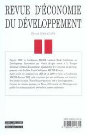 Revue D'Economie Du Developpement T.1/2 - 4ème de couverture - Format classique