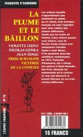 La Plume Et Le Baillon - 4ème de couverture - Format classique