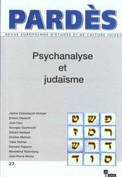 Pardes N.27 ; Psychanalyse Et Judaïsme - Intérieur - Format classique