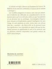 Le Miroir Des Langues Dictionnaire Espagnol-Francais (Xvie-Xviie Siecle) - 4ème de couverture - Format classique