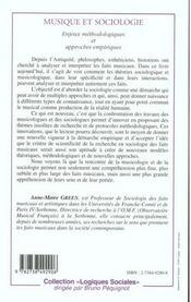 Musique Et Sociologie ; Enjeux Methodologiques Et Approches Empiriques - 4ème de couverture - Format classique