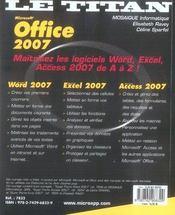 Office 2007 - 4ème de couverture - Format classique