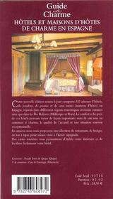 Hotels et maisons d'hotes de charme en espagne ; edition 2002 - 4ème de couverture - Format classique