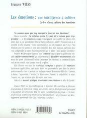 Les emotions ; une intelligence a cultiver - 4ème de couverture - Format classique
