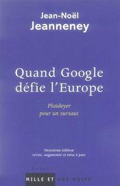 Quand google défie l'europe ; plaidoyer pour un sursaut - Intérieur - Format classique