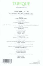 Topique n.96 ; vers les monothéismes - 4ème de couverture - Format classique