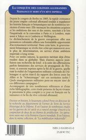 La conquête des colonies allemandes ; naissance et mort d'un rêve impérial - 4ème de couverture - Format classique