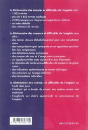 Dictionnaire Des Nuances Et Difficultes De L'Anglais Les Mots Anglais Expliques - 4ème de couverture - Format classique