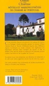 Hotels et maisons d'hotes de charme au portugal ; edition 2002 - 4ème de couverture - Format classique