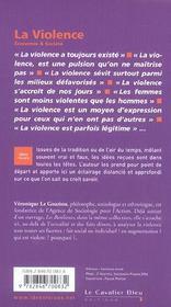 La violence - 4ème de couverture - Format classique