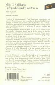 La Malediction De Constantin - 4ème de couverture - Format classique