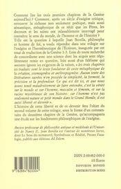 Le poème de la Création ; traduction de la Genèse 1-3 - 4ème de couverture - Format classique