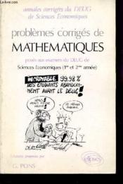 Problemes Corriges De Mathematiques Deug Sciences Eco.1987-1990 - Couverture - Format classique