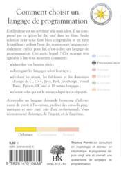 Comment choisir un langage de programmation - 4ème de couverture - Format classique