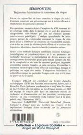 Seropositifs : Trajectoires Identitaires Et Rencontres Du Risque - 4ème de couverture - Format classique