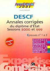 Annadescf 2001. annales corrigees epreuves 1 a 3 : synthese droit et comptabilite, synthese economie - Intérieur - Format classique