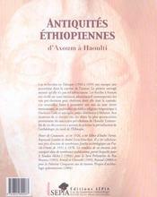 Antiquités éthiopiennes d'Axoum à Haoulti - 4ème de couverture - Format classique