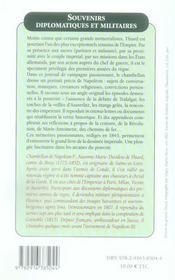 Souvenirs diplomatiques et militaires du général Thiard - 4ème de couverture - Format classique