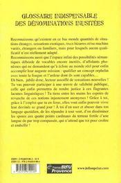 Glossaire indispensable des dénominations inusitées - 4ème de couverture - Format classique