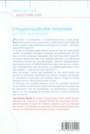 L'hyperactivite infant 90 ques - 4ème de couverture - Format classique